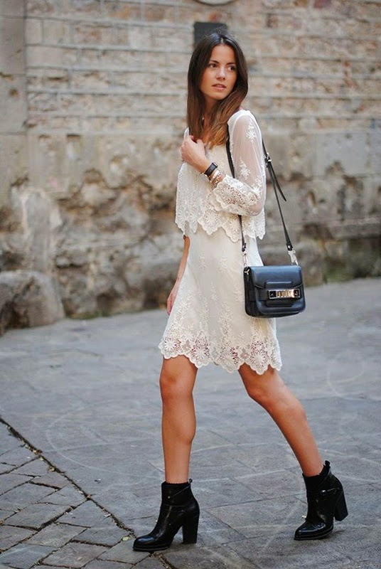 Wearing a Vintage Lace Dress with Ankle Boots for Spring Outfit