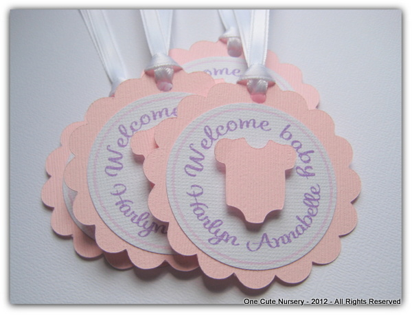 one cute nursery baby shower favor tags wording ideas