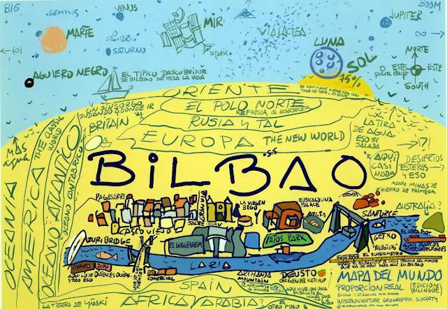 Bilbao capital del mundo. Mapamundi de Bilbao