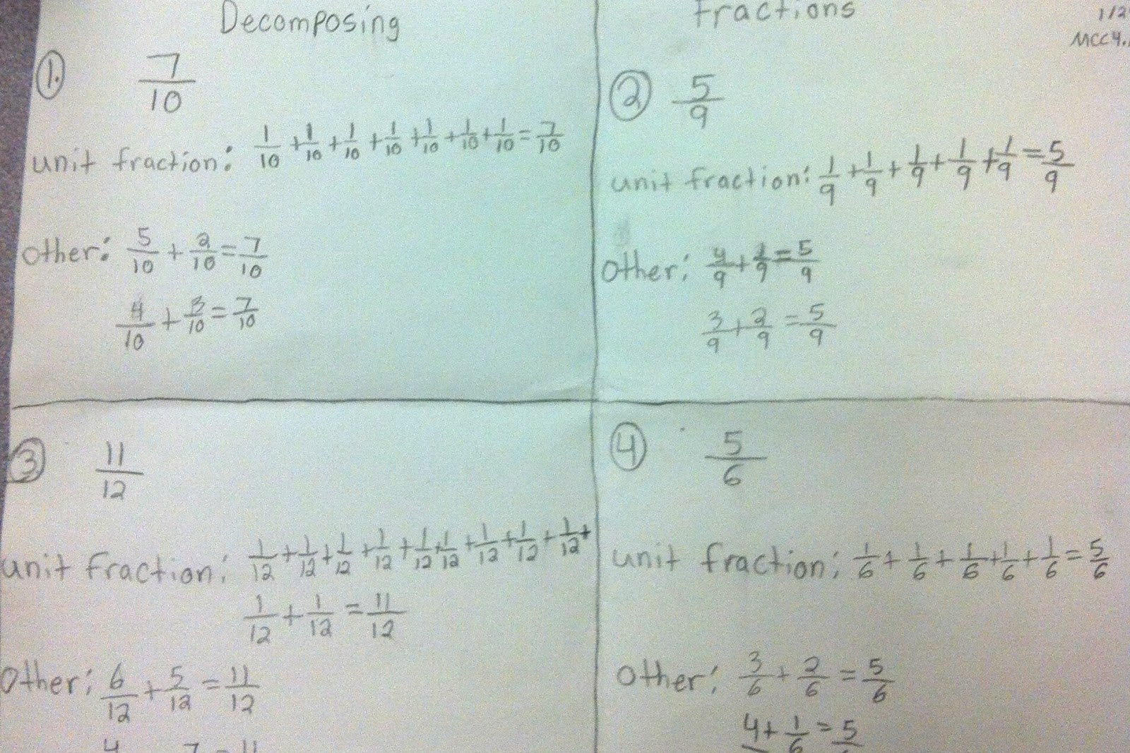 Mrs. C's Classroom: Decomposing Fractions