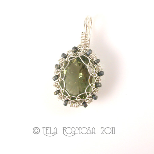 Rare Natural Green Quartz Sterling Silver Handcrafted Pendant