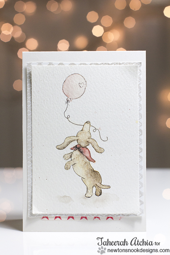 Dachshund with Balloon Card by Taheerah Atchia | Delightful Doxies Stamp set by Newton's Nook Designs