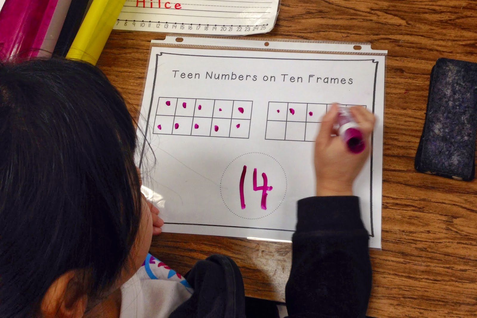 we learned how to show teen numbers on ten frames we learned that each teen number always has 1 ten frame filled in all the way