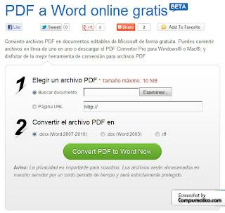 convertidor online de archivo pdf a word