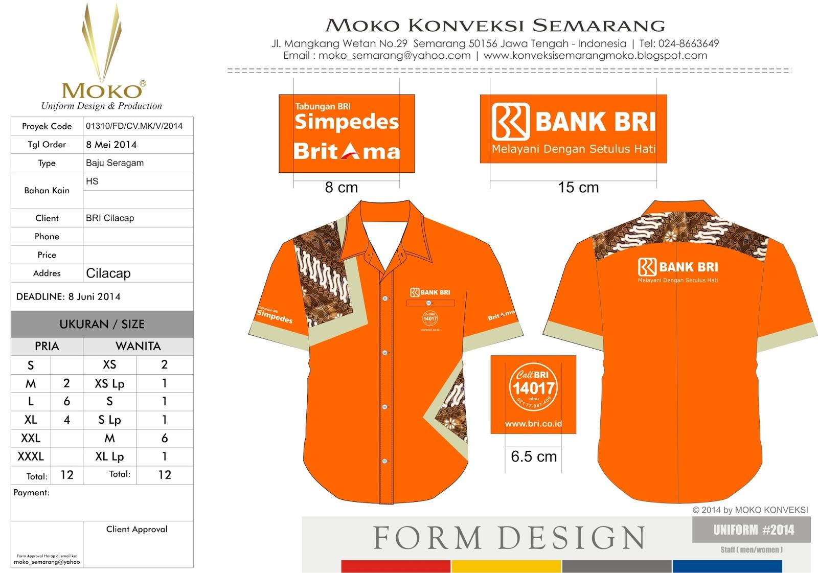 Baju batik kantor Bank BRI Cilacap  Painting Fabric Artwork