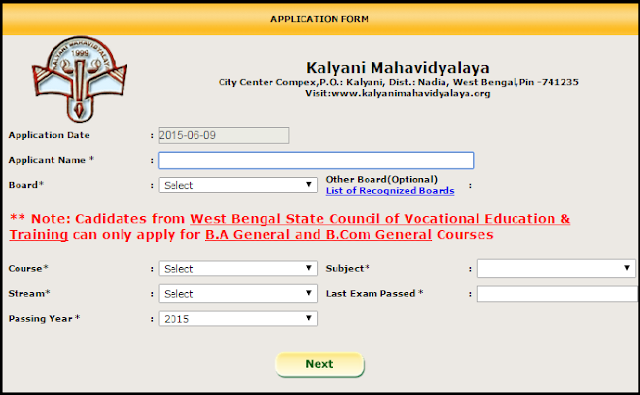 Kalyani Mahavidyalaya Online Application form for Admission to UG Hons/General Courses Session 2015-2016