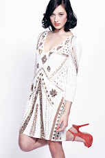 Liquorish White And Gold Sequin Dress