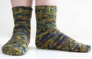 picture of 'Helter Skelter' heel-less tube socks knitted in DT Craft and Design pure wool DK in shade 'Iris'