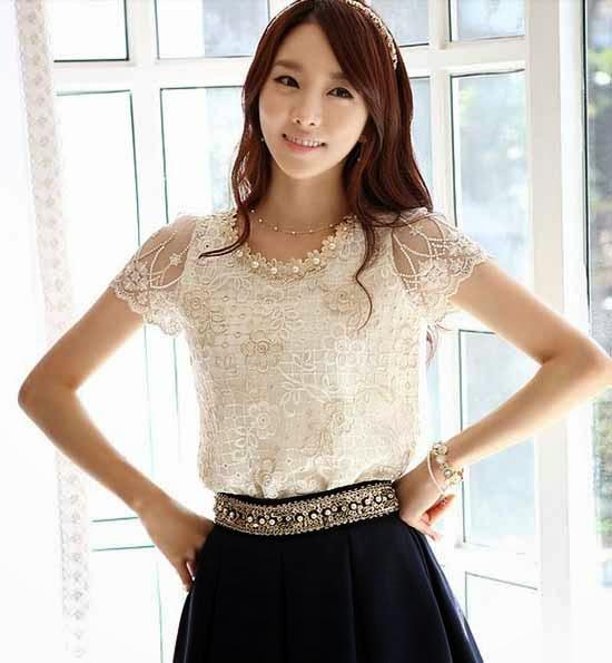 เสื้อลูกไม้แฟชั่นเกาหลี ผ้าชีฟองหรูหรา นำเข้า ไซส์MถึงXL สีเบจ - BM2485 ราคา1250บาท LOTUSNOSS.COM