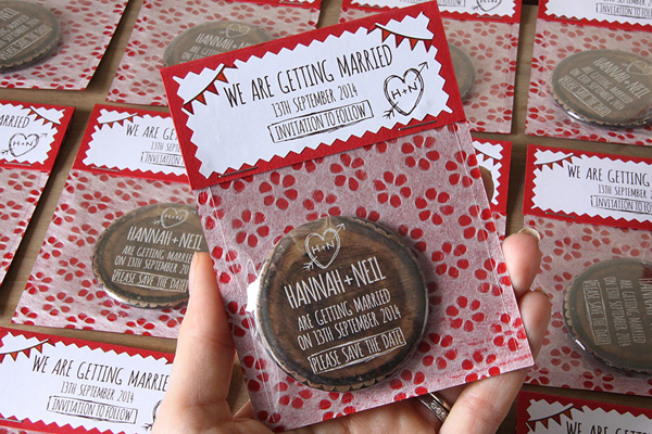 wooden save the date, tree save the date
