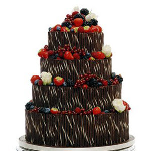 Chocolate Wedding Cakes Decorated with Mix Fruits