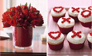 flores rojas y cupcakes para san valentin