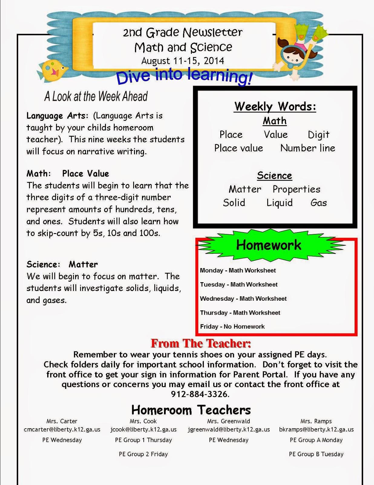Mrs. Cook\'s 2nd Grade Blog: Science & Math Newsletter August 11 - 15