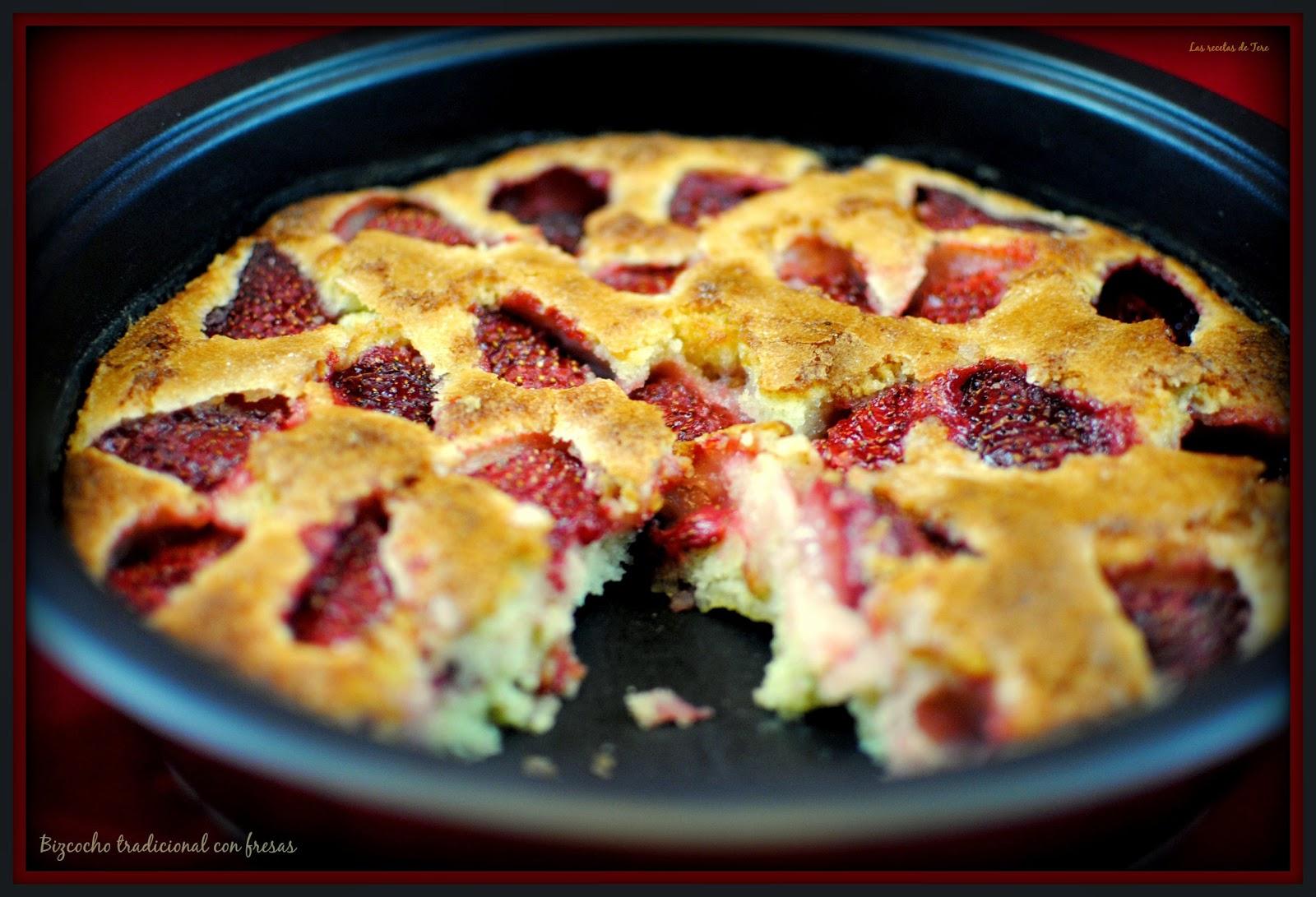 bizcocho tradicional con fresas tererecetas 01