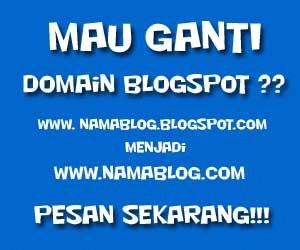 Klik untuk mengganti domain .BLOGSPOT.COM menjadi .COM