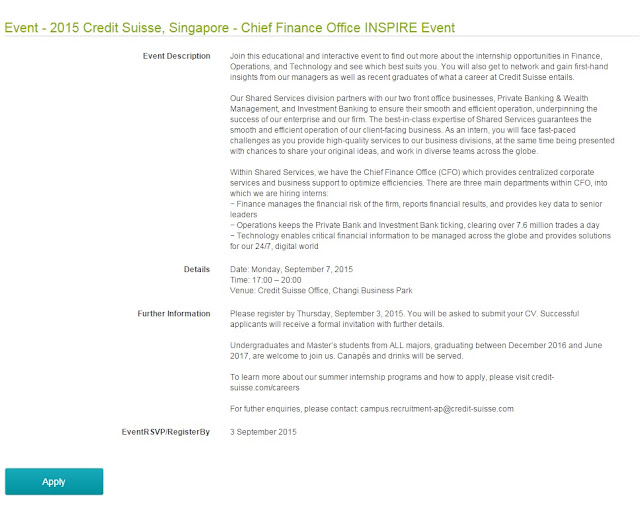 career recruitment event credit suisse singapore chief finance office inspire event for potential summer intern - Credit Suisse Cover Letter