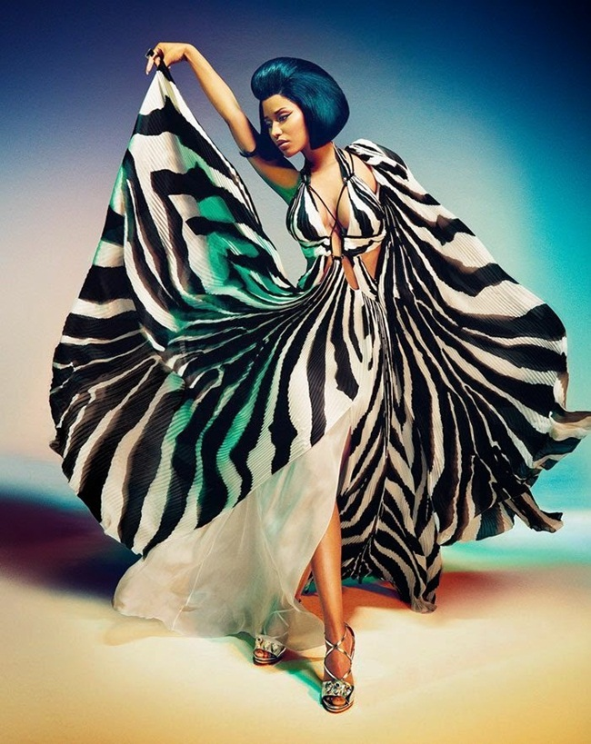 Roberto Cavalli Spring 2015 Zebra Printed Silk Dress Editorials