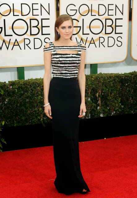 Allison Williams in Alexander McQueen at the Golden Globes