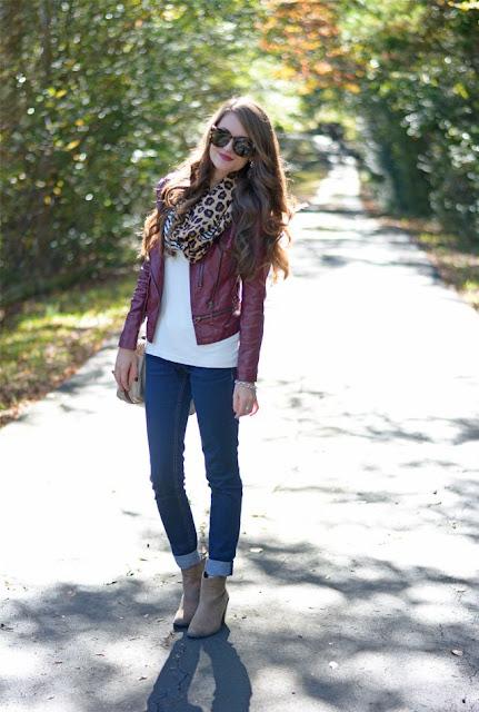 burgundy leather jacket, leopard scarf..