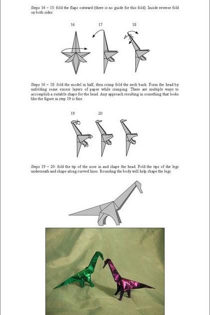 Origami Instructions How To Make Brachiosaurus Web Wanderers
