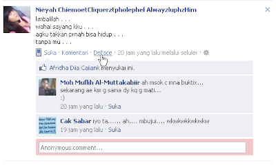 Komentar Anonim Pada Facebook dengan Defaceable