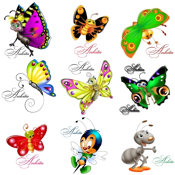 Recursos Photoshop Llanpac: Coleccion de clipart de mariposas (