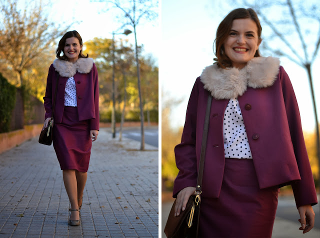 Ninot jacket pattern, pauline alice patterns, 40's style, el tiempo entre costura, Arish Agoriuq, suit, fur collar, pencil skirt, swing jacket