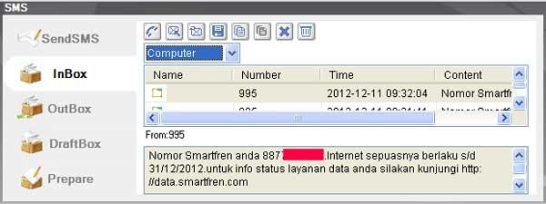 Contoh hasil cek nomor SmartFren