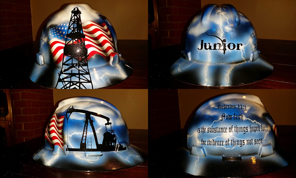 American flag drillers hard hat custom design by Zimmer DesigtnZ