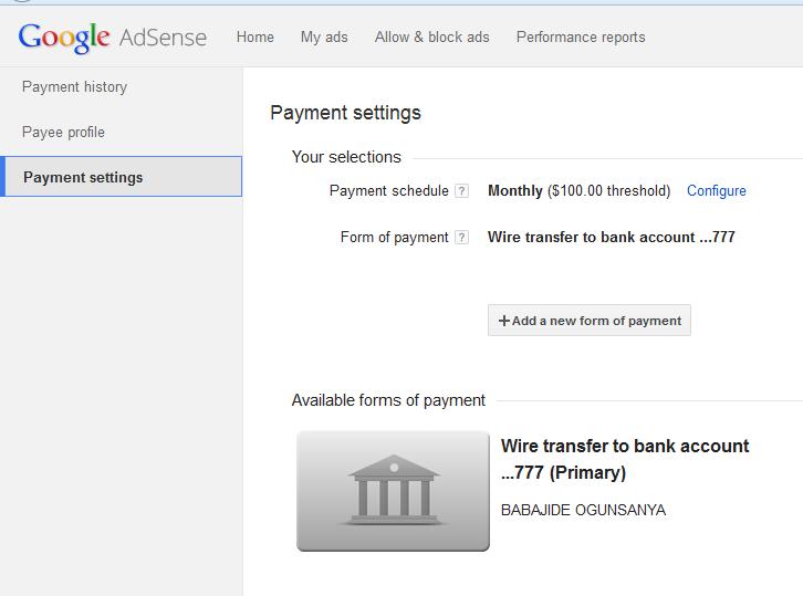 Adsense payment settings