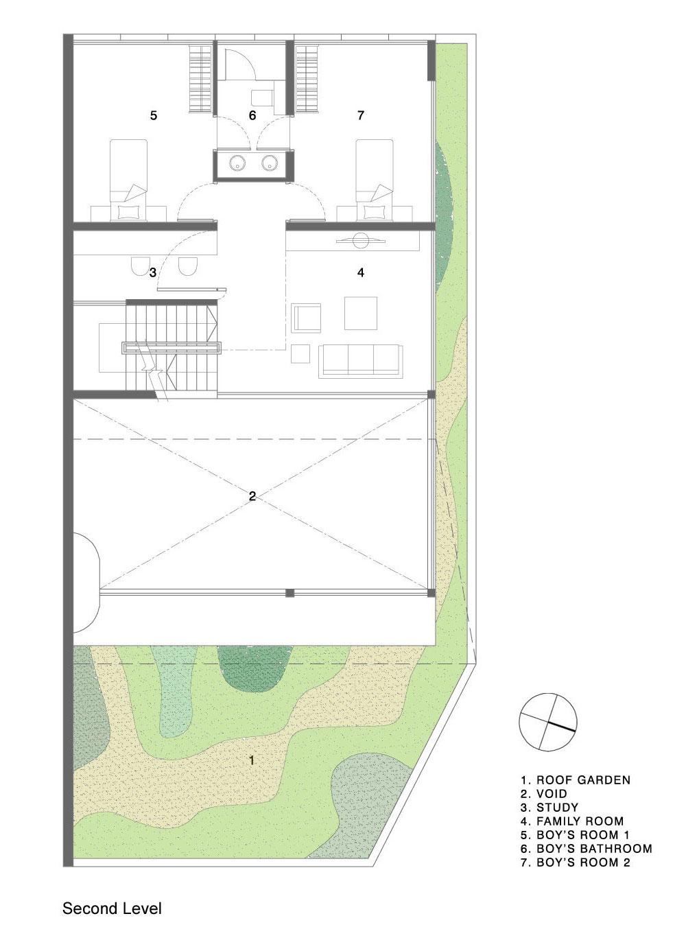 Planos low cost casa jard n con cubierta inclinada for Roof garden floor plan