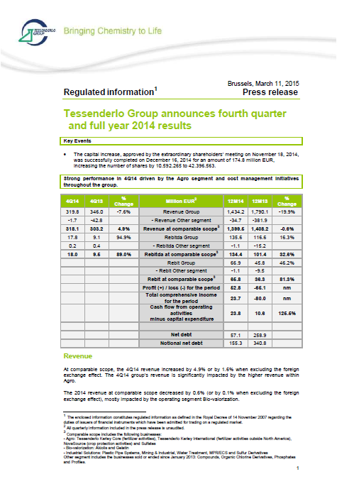 Tessenderlo, 2014, annual, report, front page