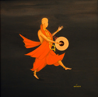 semi-abstract figurative painting by Sadhu Amrutvadandas of BAPS