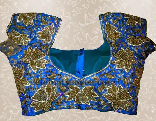 Peacock Floral Blouse with Zardosi Work