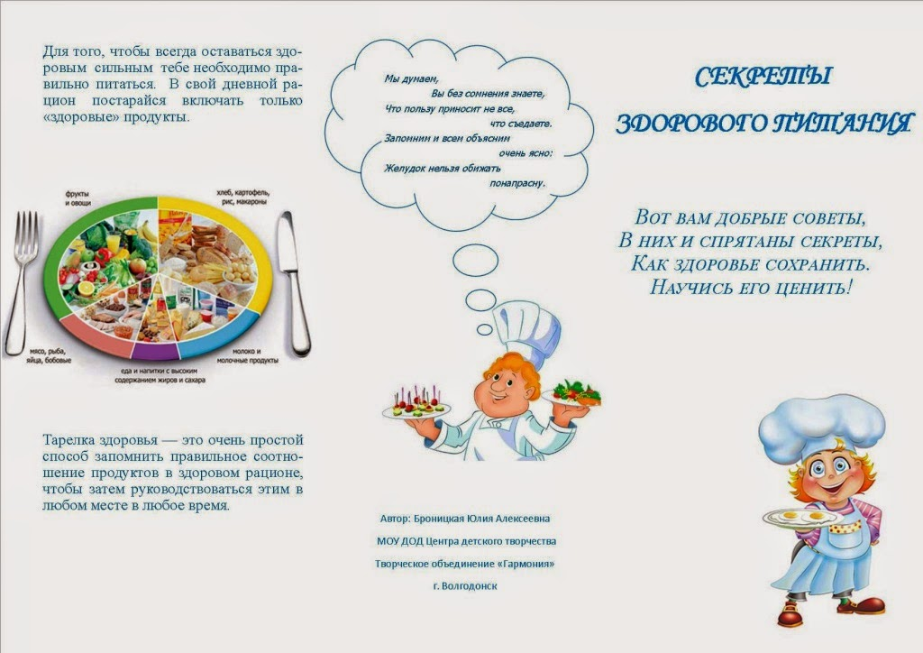 здоровое питание буклет для детей