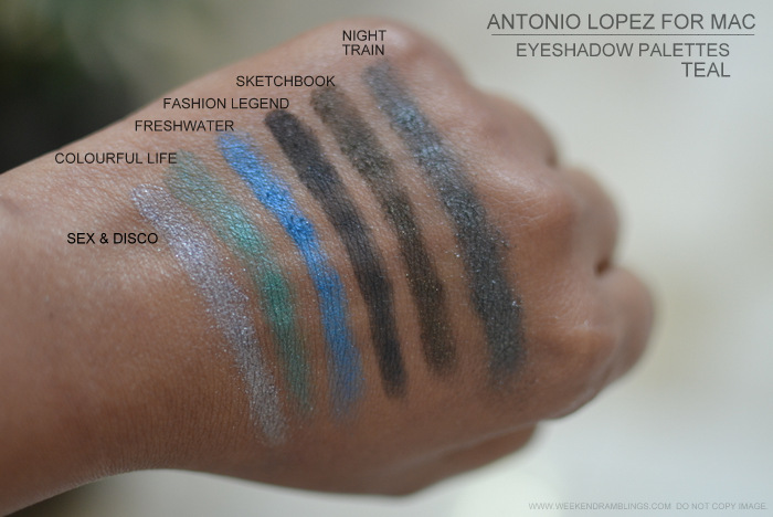 MAC antonio lopez makeup collection 6 color eyeshadow palettes nighttrain colourful life freshwater sex disco sketchbook fashion legend teal swatches photos indian darker skin beauty blog