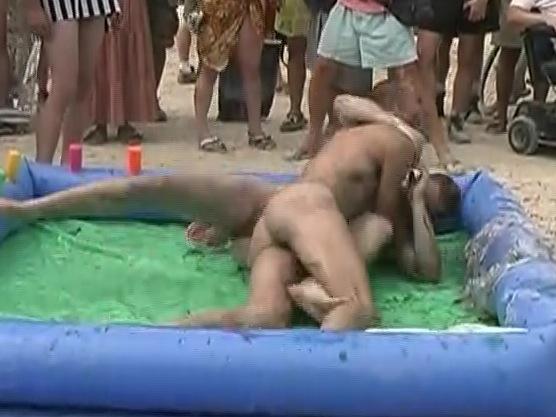 Guys naked at burning man festival