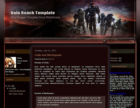 Halo Reach Blogger Theme