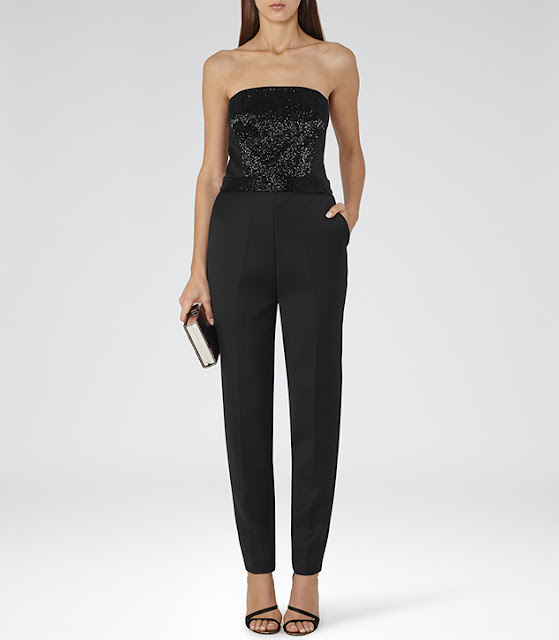 reiss black jumpsuit, black sequin jumpsuit, black sequin sleeveless jumpsuit,