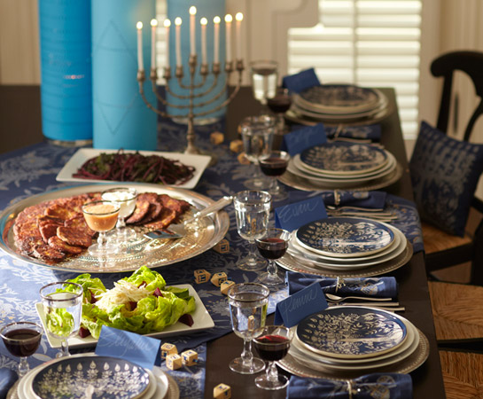 Pottery Barn's Hanukkah tablesettings