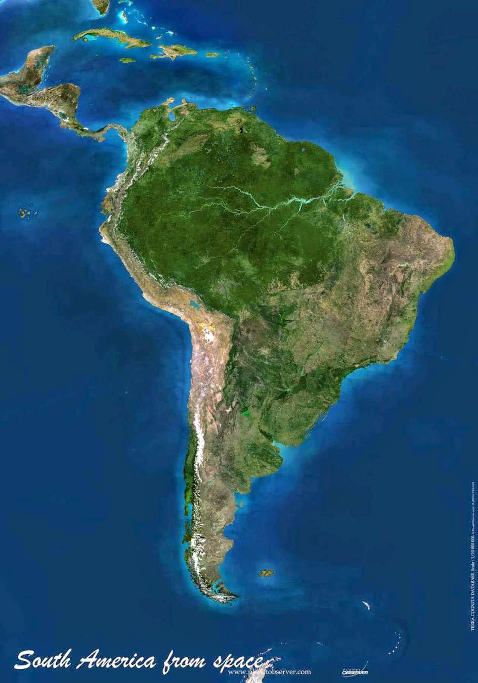 South America physical map elevations no labelling.