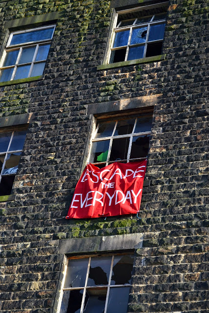 banner, protest, red flag, escape the everyday, question normality, urbex, derelict, propaganda, urban, industrial, design and art direction, art, statement, alternative lifestyle
