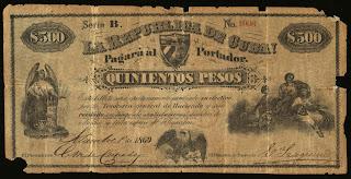 La Alegoría en los billetes del siglo XIX  1000+pesos+RCA+completo