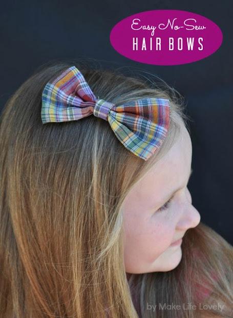 diy -sew bow tie hair bows