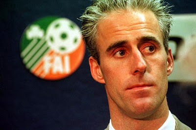 Mick McCarthy pictured in 1996 at his first press conference just after he was named Irish manager.