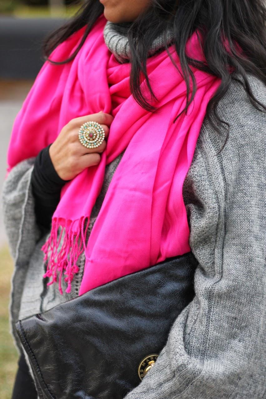 pink scarf gray fuzzy cape bcbgmaxazria wane boot marc jacobs