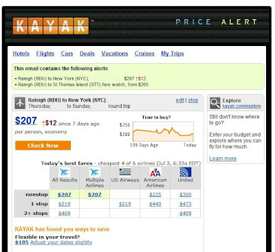 Price Alert from Kayak