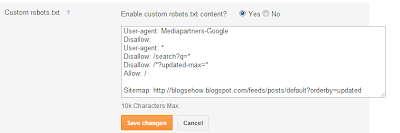 adding custom robot.txt file in blogger