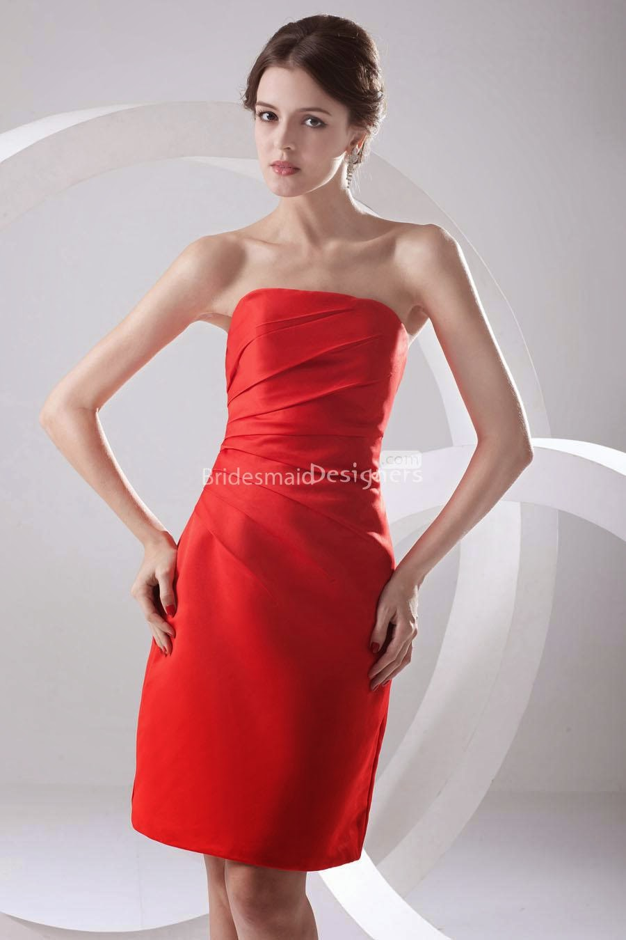 Strapless Corset Side Draped Red Short Cocktail Dress