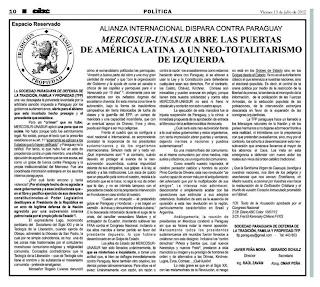 Facsimile do manifesto da TFP paraguaia:  MERCOSUL-UNASUL abre as portas da América Latina a um neo-totalitarismo de esquerda